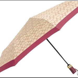 NEW❗️COACH NY Signature Umbrella Ivory Rouge